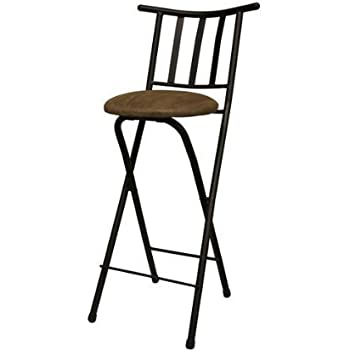 This item Set of 2 Slat Back Folding Barstool Folding Chair Stool Bronze with Beige Microfiber Cushion