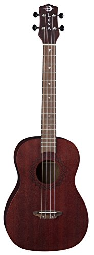 Luna Vintage Mahogany Tenor Ukulele with Quick Start Guide and Tuner, Red Satin