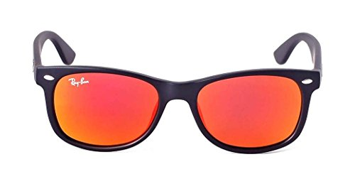Ray-Ban RB2132 New Wayfarer Sunglasses Unisex (Matte Black Frame Mirror Red Lens, 55 - Ban And Black Sunglasses Red Ray
