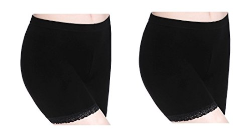 Anti Chafing Short Leggings for Women Lace Trim Shorts Slip Safety Pants Yoga ()