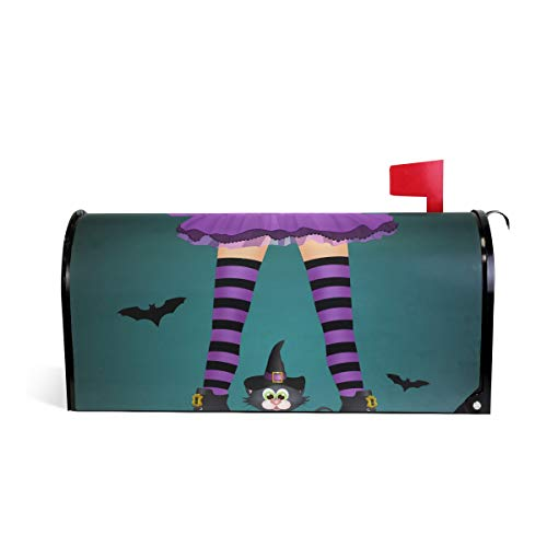 Magnetic Mailbox Cover Halloween Black Cat Witch Legs Mail Wraps Cover Letter Post Box 20.8