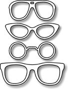 Impression Obsession io Steel Die # DIE048-E Four Sunglasses Die US American Made (Sunglasses Rubber Stamp)