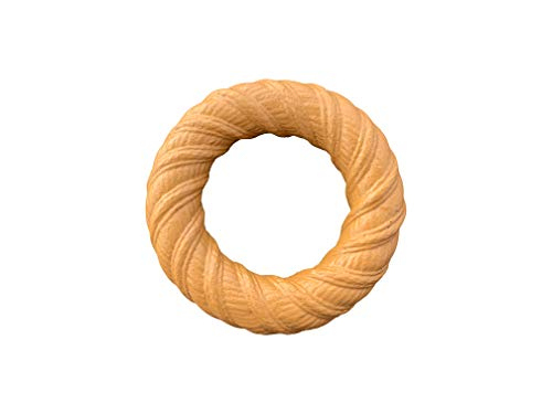 (Pet Qwerks BarkBone Chew Ring with Peanut Butter Flavor Dog Chew, Fetch and Tug Toy for Aggressive Chewers, Made in USA - Medium)