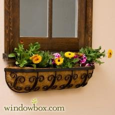 - Mariposa Iron Hay Rack Window Basket w/Coco Liner - 36 Inch