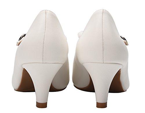 Camssoo Femmes Pompes Cheville Strappy Bout Rond Chaton Talons Chaussures De Soirée De Danse De Mariage Blanc Doux Pu
