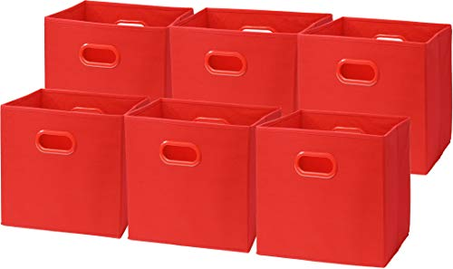 (6 Pack - SimpleHouseware Foldable Cube Storage Bin with Handle, Red (12-Inch Cube))