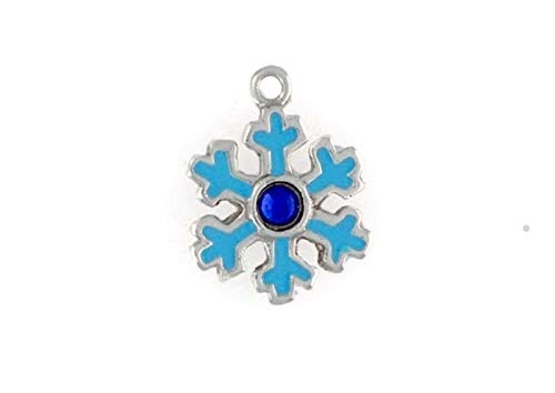 Sterling Silver Enameled Snowflake Charm for Jewelry Making Bracelet Necklace DIY - Charm Snowflake Enameled