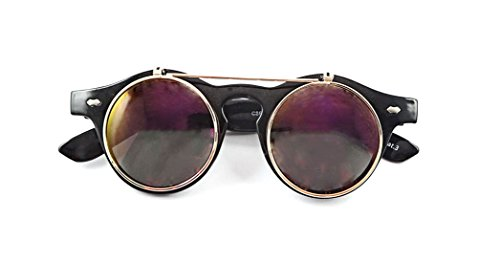 Black Frame Purple Lenses Flip up Circle Steampunk Steampunk Goggles Glasses Retro Round Rave Gothic Vintage Style Cyber - Flip That Up Glasses