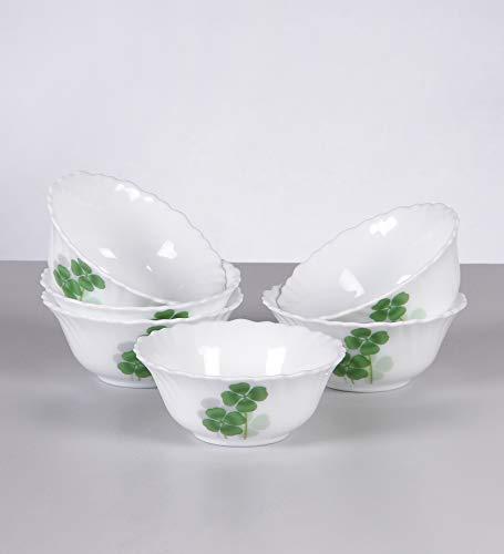 LaOpala Diva Vegetable Glass Dual Harmony Bowl , White  Set of 6