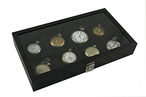 Watch Case Antique Pocket - 8 Pocket Watch Show Case Display Antique Jewelry Supply Glass Top