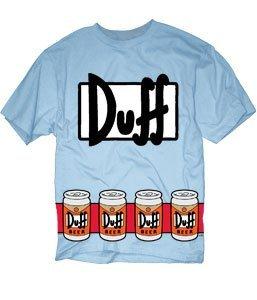 [The Simpsons Duffman Costume Beer Belt Print Sky Blue Adult T-shirt Tee (Adult Medium)] (Duffman Halloween Costume Medium)