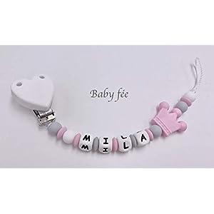Attache tétine sucette prénom personnalisée 100% silicone bébé fille couronne 1