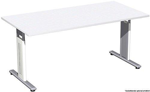 Schreibtisch höhenverstellbar, T Fuß Blende optional, 1600x800x680-820, Weiß/Silber