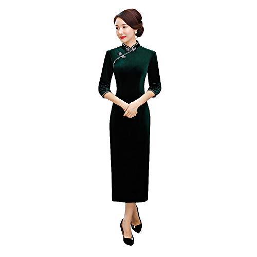 Chinese Style Traditional Shang Hai Story Long Sleeves Elegant Classic Qipao Dress Velvet Long Cheongsam