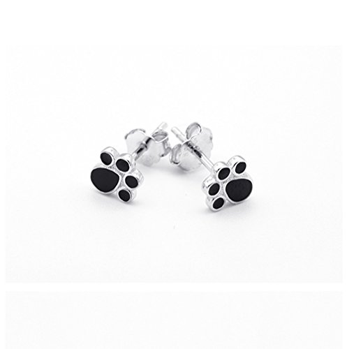 Sterling Silver Lovely Dog Puppy Pet Paw Print Stud Earrings