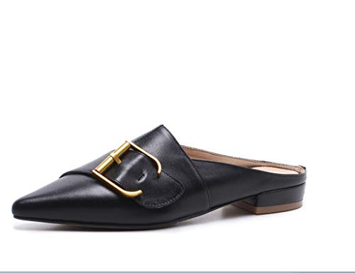 Sandali Fibbia Nero Colore Dimensioni Vera Quadrati Pelle Sandali Estiva con 35 Piatti xZAp17