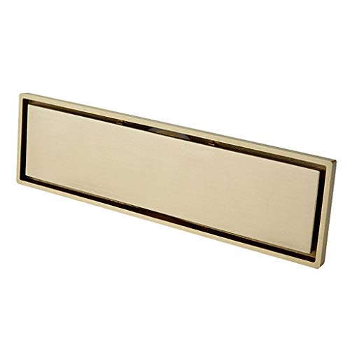 Polymer Sink Hole Covers - HATHOR-23 Rectangular Shower Floor Drain Deodorant Floor Drain - Gold 11.81 Inches 3.26 Inches - Balcony Kitchen - Hair Filter