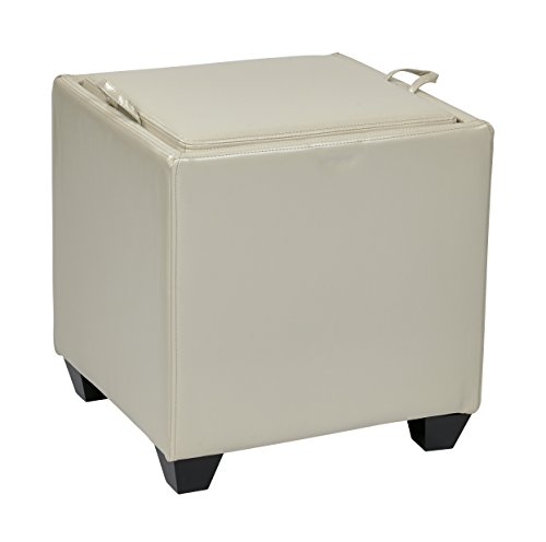 Cream Bonded Leather Ottoman (Office Star Metro Bonded Leather Storage Ottoman Cube with Tray, Cream)