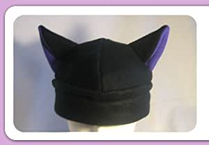 Black Cat Ears Anime Hat with Puple Inner Ear