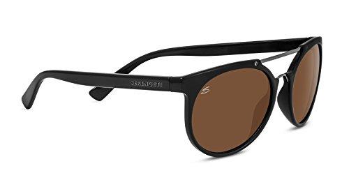 (Serengeti Lerici Polarized Driver Sunglasses, Shiny Black/Shiny Dark Gunmetal)