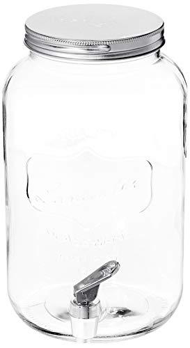 Circleware Mini Lancaster Yorkshire Mason Jar Glass Beverage Drink Dispenser with Metal Lid, 3.25 Liters