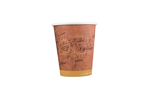Coffee Cup by HeloGreen | 8 oz. Paper Hot Cups — Hot Beverage Cup for Coffee, Tea, Water and More! - Coffee Latte Macchiato Print - (100 (Antique Parchment Single)