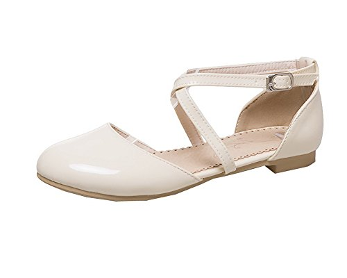 Solid Toe Buckle Beige Leather Women's Patent Sandals WeenFashion Closed Low Heels P1q5x4w