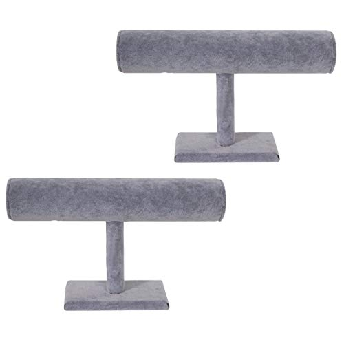 Princess-J Grey Velvet Jewelry Display T Stand for Bangle/Watches/Bracelets/Anklets Set of 2 from Princess-J