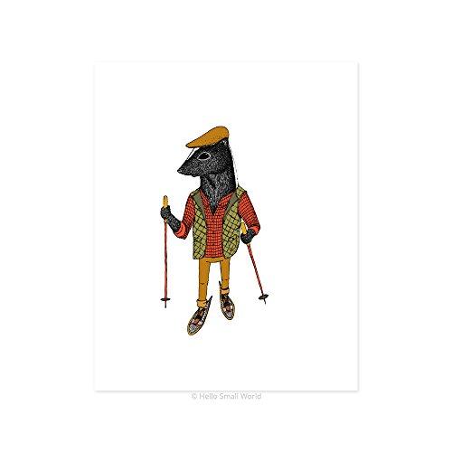 Snowshoeing Print, Ski Cabin Art, Log Cabin Decor, Skunk Print, Rustic Art Print