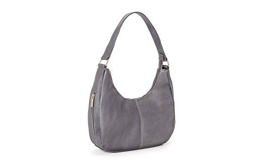 Gray Hobo - Le Donne Leather Single Handle Side Zip Hobo (Gray)