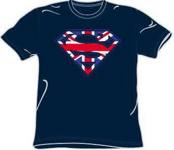 Superman UK BRITISH SHIELD Navy Blue Adult T-shirt Tee Shirt, XL