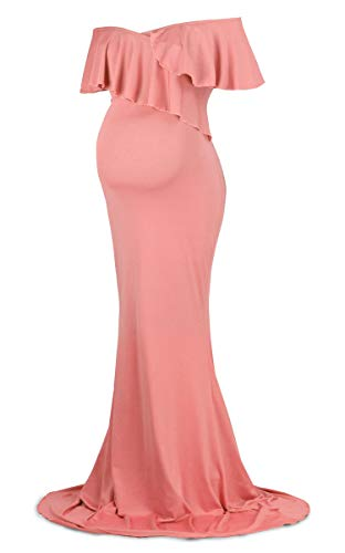 Dance Fairy Molliya Maternity Long Dress Women Ruffle Stretchy Sleeveless Maxi Dress Coral Pink (Maternity Pink Dress)