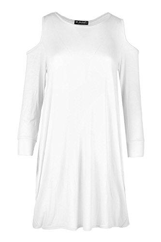 Oops Outlet Femmes Froid Épaule Ajourée Drapé Long Baggy Large Coupe Ample Tunique Tulipe Mini Robe Haut Grande Taille - Blanc, Grande taille (EU 48/50)