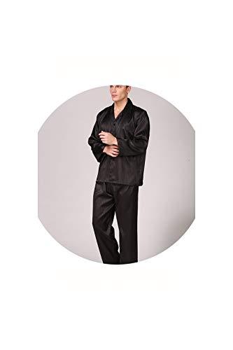 Men's Pajamas Striped Silk for Men Long Sleeve Mens Satin Spring Summer New Mens Silky Pajamas,Wine Red,XXL