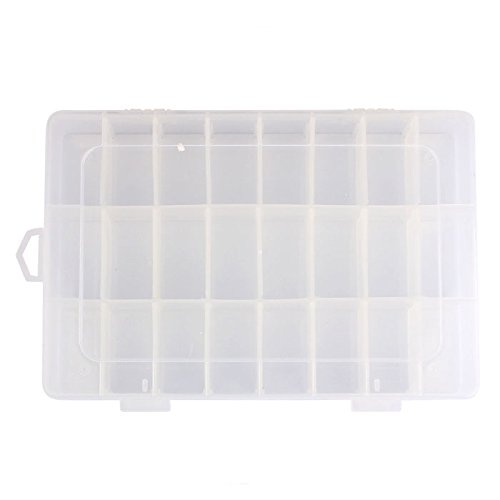 - Usstore  Women 24 Compartment Plastic Jewelry Box Transparent Earring Case High Capacity Makeup Cosmetic Storage (D, 19cm x 12.5cm x 3.5cm)
