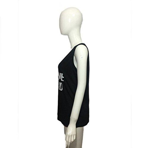 OverDose Womens carta de impresión sin mangas Tank Tops cosecha chaleco Blusa Camiseta Negro