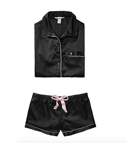 - Victoria's Secret The Afterhours Satin Boxer Pajama Black (Small)