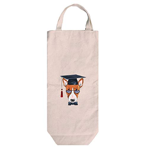 Dog Graduating In Glasses Cotton Canvas Wine Bag Tote With Handles Wine Bag