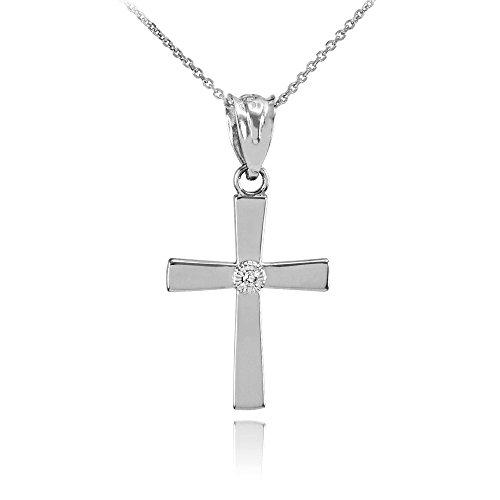 10k White Gold Solitaire Diamond Cross Charm Pendant Necklace (1