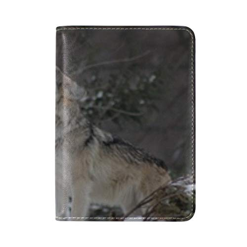 Wolf Howling Wildlife Leather Passport Holder Cover Case Travel One Pocket