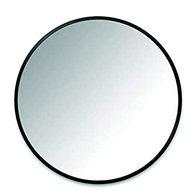 Umbra 1008243-040  Hub Wall Mirror With Rubber Frame - 24-Inch Round Wall Mirror for Entryways, Washrooms, Living Rooms and More, Doubles as Modern Wall Art, Black - LARGE, ROUND MIRROR: Hub is a 24-inch diameter mirror, with contemporary rubber frame that looks great in any room DECORATIVE RUBBER FRAME: Hub's innovative rubber frame not only adds to the look of this large wall mirror, but also doubles as a protective bumper; making it ideal for high-traffic areas or for use as a bathroom mirror BOOSTS LIGHT: Hub's large size is ideal for reflecting both natural and artificial light to help brighten any room, day or night - mirrors-bedroom-decor, bedroom-decor, bedroom - 31DqIHjzKrL. SS400  -