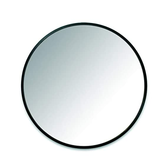 Umbra 1008243-040 Hub Wall Mirror With Rubber Frame - 24-Inch Round Wall Mirror for Entryways, Washrooms, Living Rooms and More, Doubles as Modern Wall Art, Black - LARGE, ROUND MIRROR: Hub is a 24-inch diameter mirror, with contemporary rubber frame that looks great in any room DECORATIVE RUBBER FRAME: Hub's innovative rubber frame not only adds to the look of this large wall mirror, but also doubles as a protective bumper; making it ideal for high-traffic areas or for use as a bathroom mirror BOOSTS LIGHT: Hub's large size is ideal for reflecting both natural and artificial light to help brighten any room, day or night - mirrors-bedroom-decor, bedroom-decor, bedroom - 31DqIHjzKrL. SS570  -