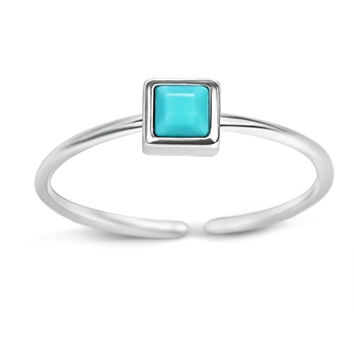 - Long Way Ring, 925 Sterling Silver Turquoise Adjustable Open Ring Fine Jewelry Girlfriend Mother Wife at Valentine Day, Birthday