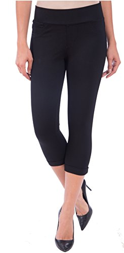 Lola Jeans Women's Michelle Mid Rise Pull On Capri Denim (Jersey Black, (Capri Low Rise Jersey)