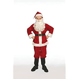 Complete Santa Claus Suit Set Child Costume Size 8-10 Medium - 31DqL0VV9IL - Halco Complete Santa Claus Suit Set Child Costume 8-10 Medium Red Flannel