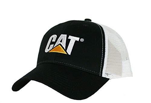 (BD Caterpillar CAT Equipment Black & White Twill Mesh Snapback Cap/Hat)
