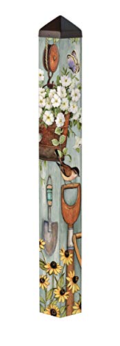Studio M Farmhouse Garden Art Pole Floral Birds Outdoor Decorative Garden Post, Made in USA, 40 Inches Tall