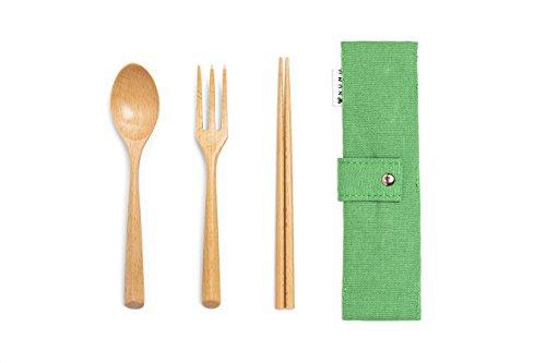 NUMU Wooden Cutlery Set   Travel Utensils Set   Eco Friendly Reusable Flatware   Fork, Spoon, Chopsticks w Portable Pouch (Green)   Lightweight Stronger than Bamboo Utensils for Camping Office ()
