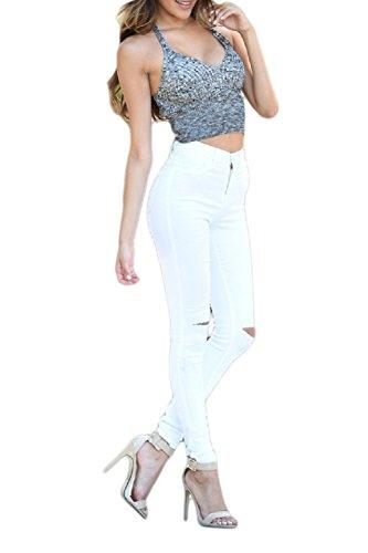 La Mujer Es Simple Ripped Hoyos Mediados De Cintura Skinny Pantalones Largos White