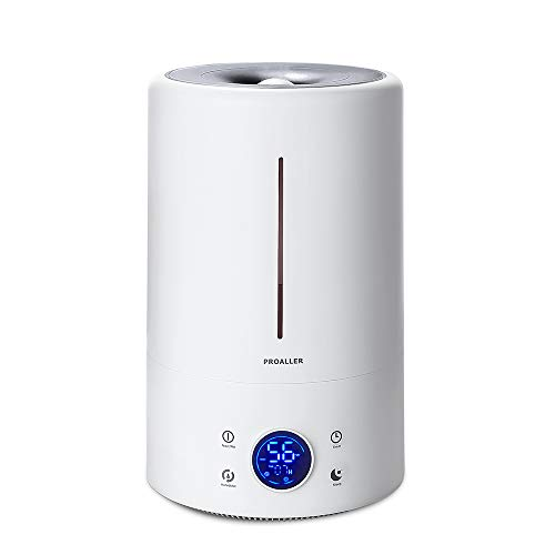 PROALLER Ultrasonic Cool Mist Humidifier for Large Rooms, 5L 1.32 Gal for Bedroom, Baby, Home, Office, LED Display, Timer Sleep Mode Quite, Filter Free, Waterless Auto Off, Portable, 3 Mist Level